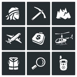Vector Set of Mountain rescue Icons. Man, Ice Ax, Top, Aircraft, Luggage, Helicopter, Life Jacket, Magnifier, Portable. Specialist, equipment and vehicles for Stock Photography