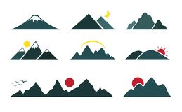 Vector set of mountain on white background. icon. Royalty Free Stock Image