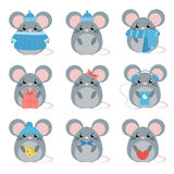 Vector set mouse in warm clothes with different subjects: cheese, hat, scarf, gift, heart, bow. Stock Photos