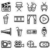 Vector set of movie cinema and theater icons isolated on white background.  Royalty Free Stock Photography