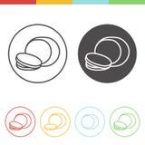 Mozzarella vector icons. Vector set of mozzarella icons in thin line style Stock Image
