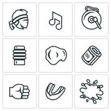 Vector Set of Muay Thai Icons.  Stock Photography