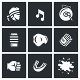 Vector Set of Muay Thai Icons. Fighter, Music, Gong, Makiwara, Champion Belt, Money Fist, Capa, Blood. Royalty Free Stock Photo