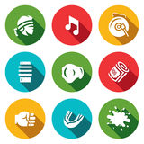 Vector Set of Muay Thai Icons. Fighter, Music, Gong, Makiwara, Champion Belt, Money Fist, Capa, Blood. Stock Images