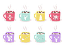 Vector set of mugs with cocoa, marshmallow, winter holiday symbols Royalty Free Stock Images