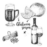 Vector set of mulled wine. Bottle, glass, orange, apple, cinnamon sticks, anise. Vintage engraved style. Decorated with blots. Use for season restaurant, menu Royalty Free Stock Image