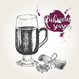 Vector set of mulled wine. Glass, cinnamon sticks, anise. Vintage engraved style. Decorated with blots. Stock Images