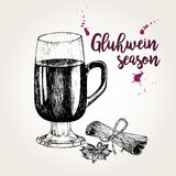 Vector set of mulled wine. Glass, cinnamon sticks, anise. Vintage engraved style. Gluhwein season. Royalty Free Stock Photos