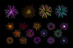 Vector set of multi-colored holiday fireworks. Bright sparkling salute. Decorative elements for festival invitation. Set of multi-colored holiday fireworks Royalty Free Stock Photography