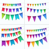 Vector Set of Multicolored Buntings Garlands Flags Isolated on White Background Stock Image