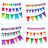 Vector Set of Multicolored Buntings Garlands Flags Isolated on White Background Royalty Free Stock Image