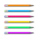 Vector set of multicolored pencils on white. Vector realistic set of varicolored pencils on white background. Vector illustration Royalty Free Stock Photo