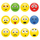 Vector set multicolored smileys with emotions Royalty Free Stock Images