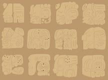 Vector set of murals of the Maya Stock Photo