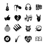 Vector set musical flat web icons. Black and white  with long shadow for internet, mobile apps, interface design Royalty Free Stock Photos