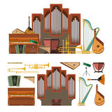 Vector set of musical instruments in flat style. Design elements and music icons Stock Image