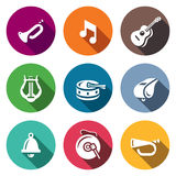 Vector Set of Musical Instruments Icons. Trumpet, Note, Guitar, Harp, Drum, Whistle, Bell, Gong, Bugle. Stock Photography