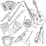 Vector Set of Musical Instruments Royalty Free Stock Photo
