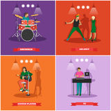 Vector set of musician and singers. Music rock band concept banners. Stock Photos