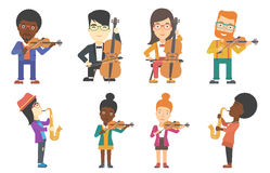 Vector set of musicians characters. Stock Photography