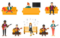 Vector set of musicians and people gaming. Royalty Free Stock Photos