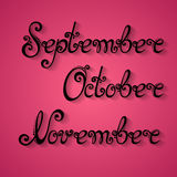 Vector Set of Names of Months, Autumn Stock Images
