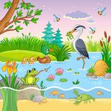 Vector set with nature and animals in the children`s cartoon style. Lovely crawfish and fish on water Royalty Free Stock Images