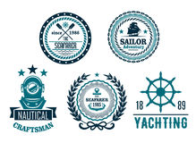 Vector set of nautical anchor or marine helm icons. Nautical icons for yachting club or seafarer heraldic labels. Vector symbols of ship helm and anchor, diver Royalty Free Stock Photo