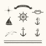 Vector set of nautical elements. Nautical icons Royalty Free Stock Photos