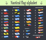Vector. Set of Nautical flags. Marine alphabet communication sys Stock Photos