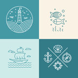 Vector set of nautical icons Royalty Free Stock Photography
