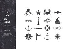 Vector Set of Nautical Icons Stock Photos
