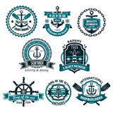 Vector set of nautical and marine icons. Nautical icons and symbols set. Vector isolated heraldic seafarer ship helm and anchor, lighthouse or life buoy with royalty free illustration