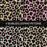 Set of 4 seamless neon leopard patterns royalty free illustration