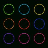 Vector Set of Neon Circles: Rainbow Colors Round Shapes Glowing. stock illustration
