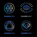 Neon diamond vector logo set Stock Photos
