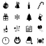 Vector Set of New Year and Christmas Icons. Vector Set of Black New Year and Christmas Icons Stock Image
