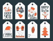 Vector set of new year and christmas tags. Set of cute Christmas and New Year gift tags. Vector illustration Royalty Free Stock Image