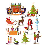 Vector set of New Years characters in flat design. Vector set of fairy tale characters, people, home interior design elements isolated on white background. New Stock Image