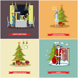 Vector set of New Years Eve celebration concept posters Royalty Free Stock Image