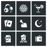 Vector Set of Night Club Icons.  Royalty Free Stock Photo
