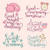 Vector set of night cute illustrations. Cartoon symbols and hand lettering for posters, cards Good Night My Darling etc. Royalty Free Stock Photo
