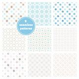 Vector set of nine blue seamless geometric patterns. Ideal eleme Royalty Free Stock Photography