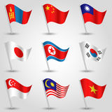Vector set of nine flags states of east asia Royalty Free Stock Photo