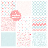 Vector set of nine graceful seamless patterns - chevron, flowers Royalty Free Stock Image