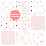 Vector set of nine pink seamless patterns - hearts, wreaths, bra Royalty Free Stock Photos