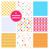 Vector set of nine rainbow seamless patterns Royalty Free Stock Image