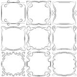 Vector set of nine square frames Stock Photo