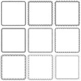 Vector set. Nine square ornamental frames. Black on a white Royalty Free Stock Image