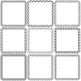Vector set. Nine square ornamental frames. Black on a white Royalty Free Stock Photos